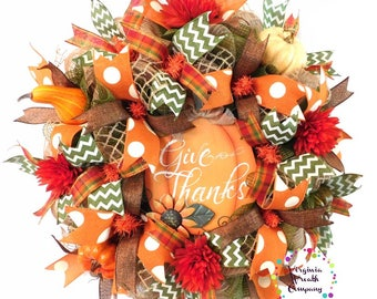 fall deco mesh wreath give thanks sign fall wreath fall pumpkin wreath - Fall Door Decorations