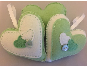 Hand stitched light green and White hanging hearts, home decor, any occassion, set of 2 hanging felt hearts. (HH005)