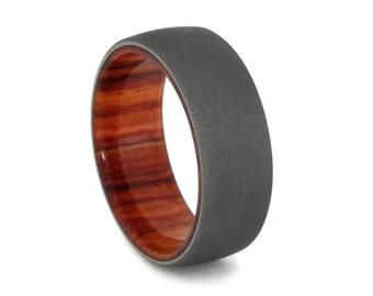 Tulipwood Wedding Band with Sandblasted Titanium Finish, Wood Wedding Ring