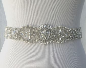 SALE Bridal Sash, Bridal Belt, Wedding Sash, Bridesmaid Belt, Crystal Sash, Rhinestone Belt, Sash, Wedding Dress Belt, Style 105
