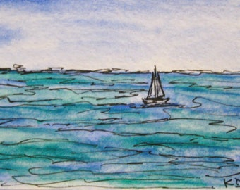 Sailing Original ACEO Maine Painting Watercolor Small ACEO Artist Trading Card 271 Pen and Ink Drawing Original Art by Kathleen Daughan