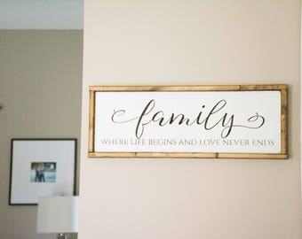 Family Wood Sign, Where Life Begins and Love Never Ends, Custom Made Home Decor, Gallery Wall, Anniversary Gift, Mothers Day Gift