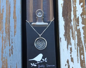 Heart Silver Wax Seal Stamp Necklace