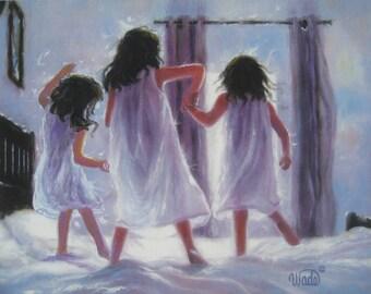 Three Sisters Jumping Art Print, three girls bedroom lavender wall art decor, three brunettes, three best friends, Vickie Wade art