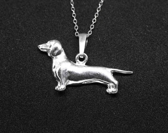 Dachshund jewelry pendant-Sterling Silver-Personalized Pet Necklace-Dog lover gift-Custom Dog Necklace-Pet Memorial Gift-Dog jewellery