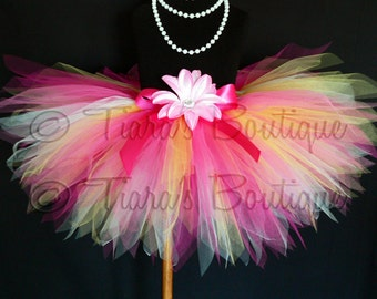 Girls Tutu - Birthday Tutu - Tropical Bloom - Yellow White Hot Pink Tutu - Custom Sewn 11'' Pixie Tutu - sizes newborn up to 5T - Photo Prop