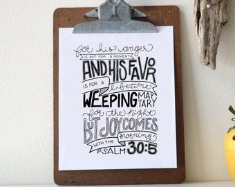 Psalm 30:5 Printable Bible Verse Art Print 8x10 Digital Wall Art Gift