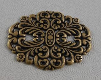 LuxeOrnaments Oxidized Brass Filigree Oval Floral Focal Medallion (Qty 1) (choose finish) G-06699-B
