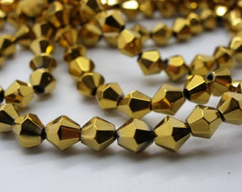 50 beads 6 mm bicones way metalises gold plated Crystal nacklace
