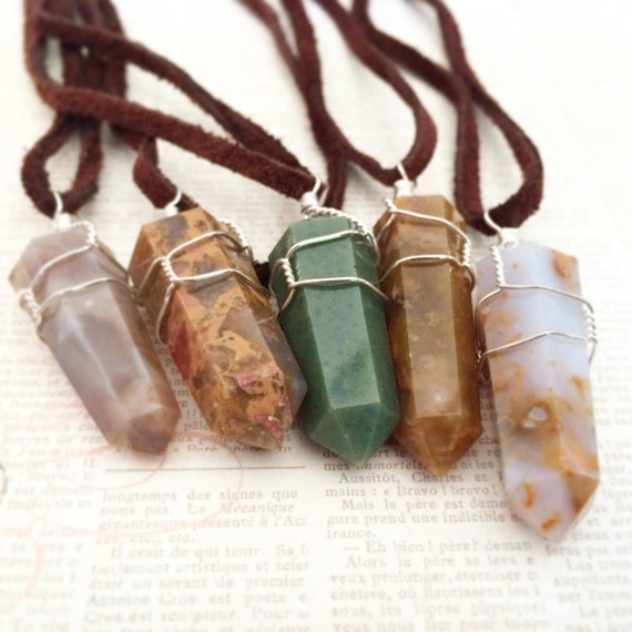 """Jasper Wire Wrapped Necklace on Brown Suede Cord- """"Supreme Nurturer"""" Assorted Color Double Terminated Rock Crystal Healing Energy Stone"""