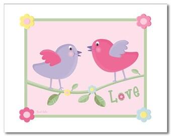 Nursery wall art print for girls LOVE BIRDS FLOWERS