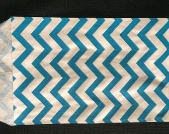 DESIGNER SERIES 50 -4x6 ~BLUE Chevron Paper Merchandise Bags, Unique Chevron Paper Party Bags, Gift Bags 4x6 inches, goodie treat bags