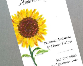 Sunflower Business Card, Personal Assisant, Set of 50