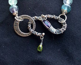 Sterling Silver and Flourite bracelet with wire woven clasp