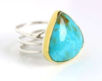 Big, Bold Turquoise Statement Ring on Swirled Band. 22k Gold and Silver. US Size 9. December Birthstone.