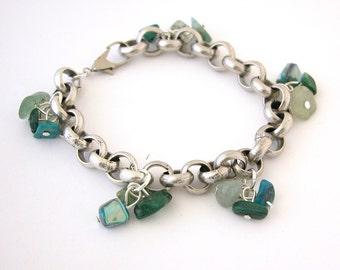 Mother Gift For Women, Gem Lucky Charm, Silver Bracelet with Green Gemstones, Birthstone Bracelet, Green Bracelet, Mother Gift for Women