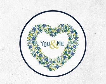 Cross Stitch Pattern You and Me Heart Instant Download PDF Counted Chart