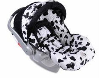 Custom Boutique Black and White Cow Infant Car Seat Cover 5 piece set