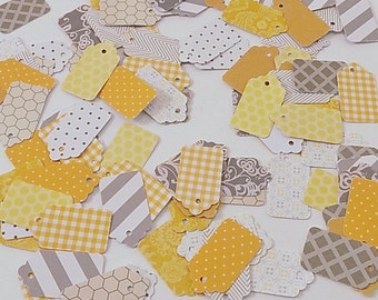 Mini Tag Yellow Grey Geometric and Graphic Mix, Yard Sale Tag, Craft Show Tag, Bake Sale Tag, Jewelry Tag, Swing Tag, Hang Tag