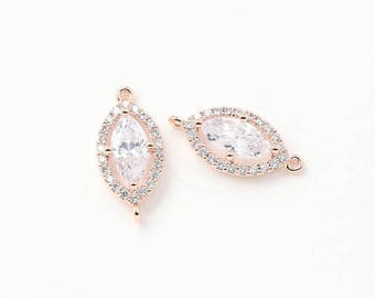 3458017 / Single Lined Cubic Marquise / Rose Gold Plated Brass with CZ Connector 9mm x 19mm / 1.2g / 2pcs