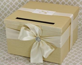 Champagne Gold and Ivory Wedding Card Box Custom Made