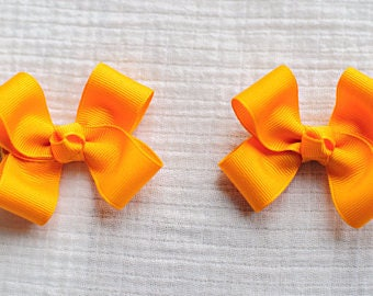 Yellow Gold Hair Bows,Pigtail Hair Bows,Girls Hair Bows,3 Inches Wide,Alligator Clips,Birthday Party Favors