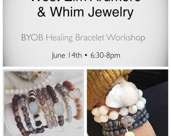 Healing bracelt workshop at West Elm Ardmore PA