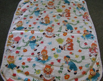 Vintage Raggedy Ann and Andy Blanket ~ Baby