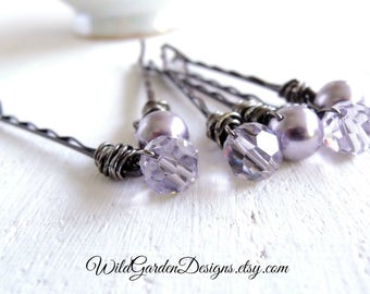 Smoky Lavender Pearl and Crystal Decorative Hair Pins Lilac Wedding Accessories Wire Wrapped Bobby Pins Swarovski Mauve Pearls and Crystals