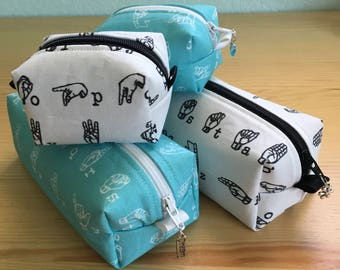 American Sign Language (ASL) print Pencil Cases and Change Purses, Great Gift!