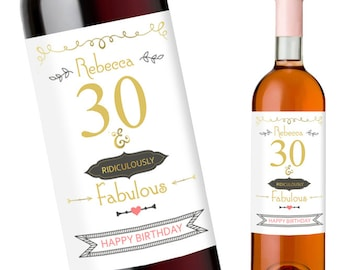 Birthday Wine Labels Thirty and Fabulous | Customise 30th Wine Label with Any Name