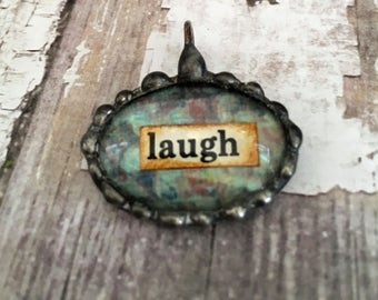 Word Charm, Soldered Bubble Charm, Glass Pendant, Cabachon, Collage art, Inspirational, glass nugget