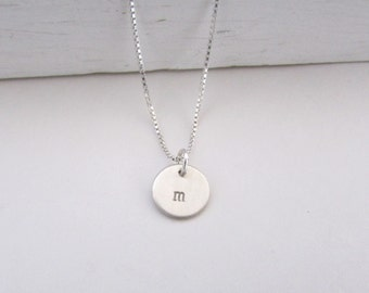Little Girls Personalized Jewelry, Initial Necklace, Sterling Silver Hand Stamped Charm  Necklace, Childrens Jewelry