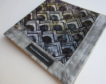 Handmade Hank EDC Hank Blue Purple and Gray Batik Fabric Everyday Carry Pocket Dump Hank Mens Handkerchief Gift for Him