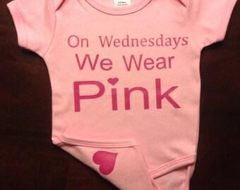 On Wednesdays we wear pink bodysuit, mean girls shirt, pink shirt, newborn, baby, toddler girl, mean girls shirt, on Wednesdays we wear pink