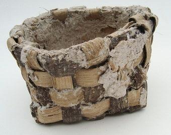 Tulip Poplar Bark Basket with Applied Gourd Paper