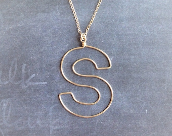 Custom Initial Necklace - Custom Box Letter Necklace - Personalized Necklace in Sterling or 14k Gold Filled - Name Necklace