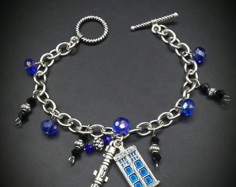 Dr Who-vian Charm Bracelet Blue Beaded Fashion Jewelry