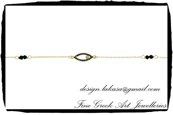 Eye Bracelet Sterling Silver Gold plated Jewelry Chain Black Rhinestone Crystals Best idea Gift Woman Birthday Baptism Anniversary MotherDay