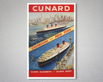 Cunard Queen Elizabeth - Qeen Mary Vintage Travel Poster - Art Print - Poster Print, Sticker or Canvas Print / Gift Idea