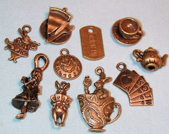 Alice in Wonderland Inspired Bronze Charm Collection  10pc C244