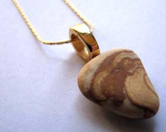 Ocean Jewelry - Earthenware Pendant - Sea Glass Necklace Gold- Ceramic Pendant -Beach Glass Jewelry -Earthenware Necklace - Jewelry Gift