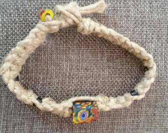 Macrame Hemp and Femo Clay Beads Bracelet