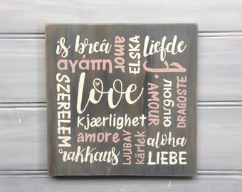 LOVE in different languages - Hand painted - Housewarming - Engagement gift - Wedding gift - Mothers Day gift - Gift for her - Mum - Mom
