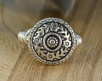 Flower Ring- Sterling Silver, Yellow or Rose Gold Filled Wire Wrapped Ring with Floral Metal Bead -Any Size 4 5 6 7 8 9 10 11 12 13 14
