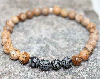 Mens gemstone bracelet, Picture Jasper, obsitian, stretch bracelet, stacking, earthy, high fashion, gift for him, boho, Free shipping