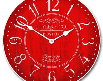Harbor Red Wall Clock