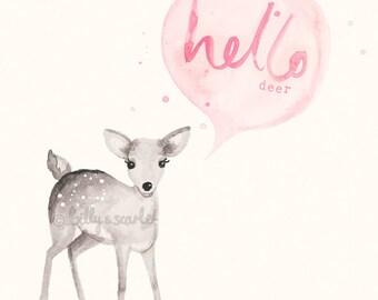 Baby Girl Nursery Decor 'Hello Deer' Print 8x10 / A4 - Light Pink Shabby Chic Nursery Decor, Woodland Nursery Watercolour Illustration