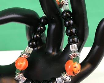 Halloween Jack-O-Lantern Black Beaded Stretch Bracelet New Gift