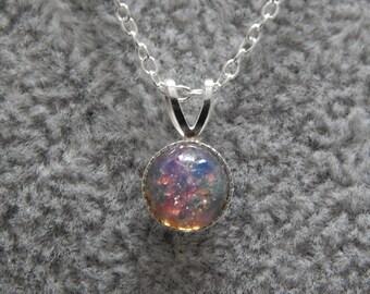 Fire Opal Pendant, Sterling Silver Pendant, Fire Opal Necklace, Dainty Fire Opal Pendant, Opal Necklace. Dainty Opal Necklace